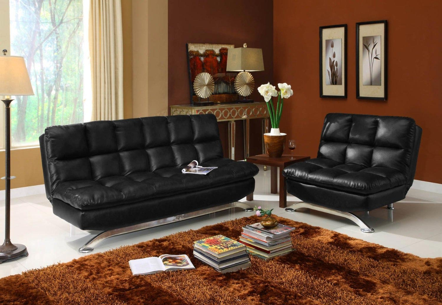 Black Faux Leather Futon 441