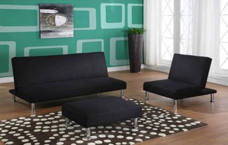 3 Piece Klik Klack Futon Set In Black With Sofa Chair Ottoman