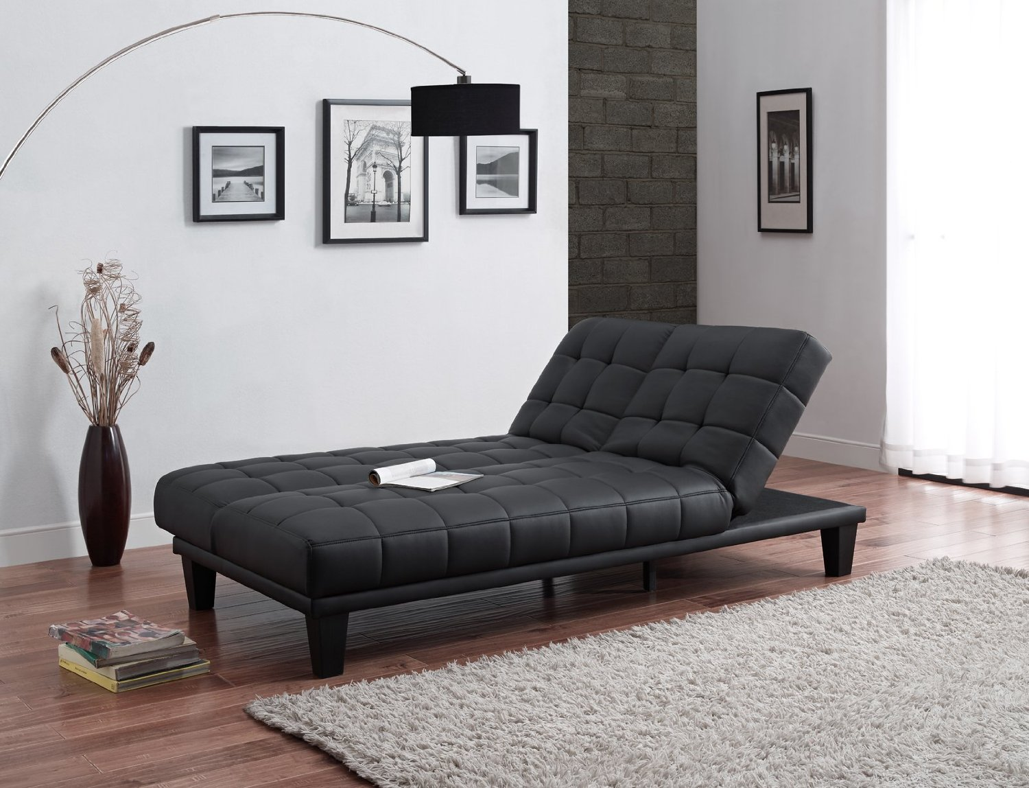 Julia convertible futon sofa bed with chaise lounger black for Chaise lounge convertible bed
