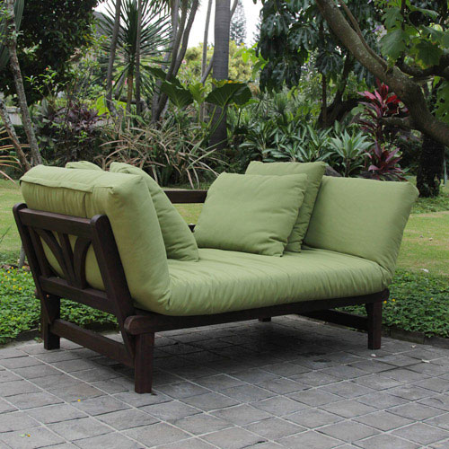 Awesome Outdoor Futon With Green Cushions And Brown Frame