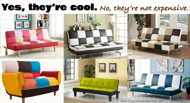 fun checkered patterned colorful futons on sale