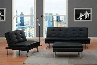 Modern Black Futon Sectional Set