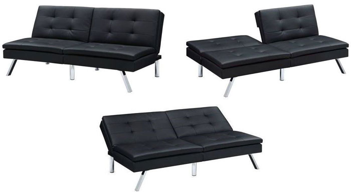 Modern Black Sectional Futon Positions