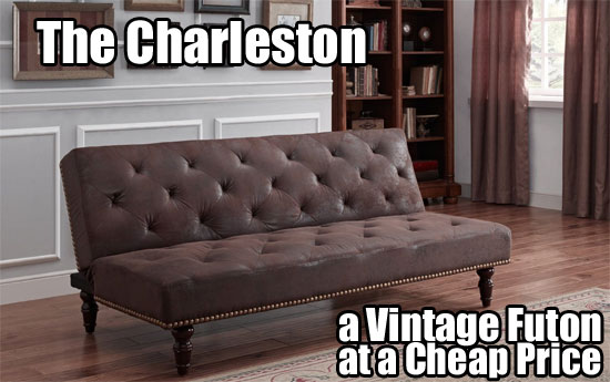 Brown Tufted Charleston Vintage Futon Beds In Living Room