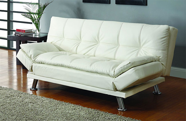 coaster futon sofa bed in white faux leather coaster futon sofa bed   the 6 pros  u0026 cons     rh   easyconvertiblefuton