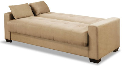 Khaki Microfiber Sofa Sleeper Bed With Pillows
