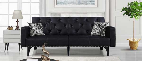 Tufted Bonded Leather Sofa With Nailhead Trim Pros Cons