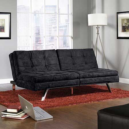 Plush Sauder Studio Futon Sofa In Black