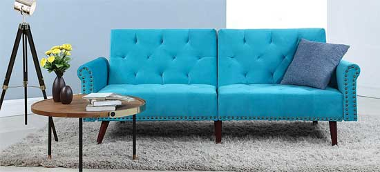 Divano Roma Vintage Style Futon With Tufted Turquoise Upholstery And Nailhead Trim Priced Under