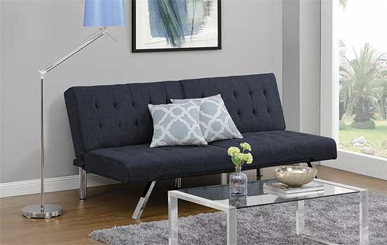 Emil Split Back Convertible Futon In Navy Linen Upholstery One Of The Top 5 Cheap