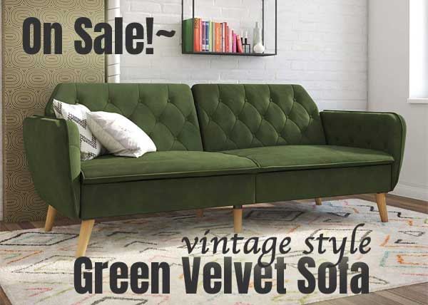 Tufted Green Velvet Sofa *On Sale*