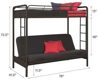 Twin Over Futon Bunk Bed Embly Instructions Dimensions Diagram