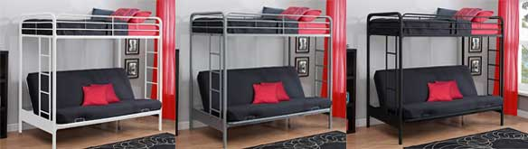 3 Dhp Twin Over Full Futon Bunk Bed Colors Black Silver